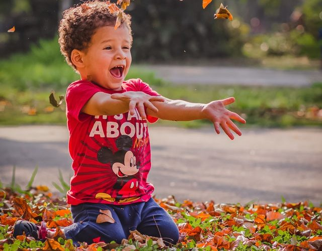 Happy little boy kneeling on lawn throwing fall leaves in the air